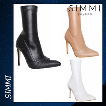 SIMMI Casual Style Faux Fur Plain Pin Heels Ankle & Booties Boots