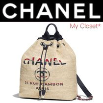 CHANEL DEAUVILLE Casual Style Canvas Street Style A4 3WAY Chain Plain