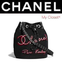 CHANEL ICON Stripes Other Check Patterns Calfskin Street Style Chain
