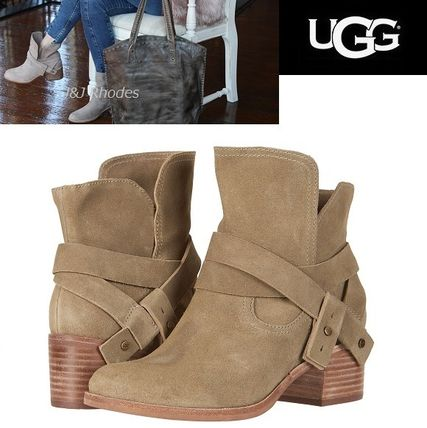 2feb0847e46a ... UGG Australia Mid Heel Round Toe Casual Style Studded Plain Leather  Block Heels ...