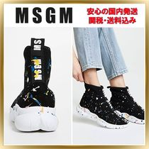 MSGM Round Toe Rubber Sole Casual Style Unisex Low-Top Sneakers