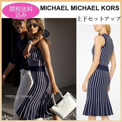 Crew Neck Stripes Sleeveless Medium Elegant Style Dresses