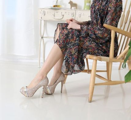 Peep Toe Open Toe Handmade Party Style With Jewels 4