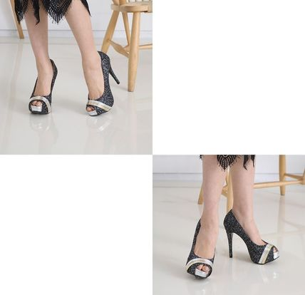 Peep Toe Open Toe Handmade Party Style With Jewels 13