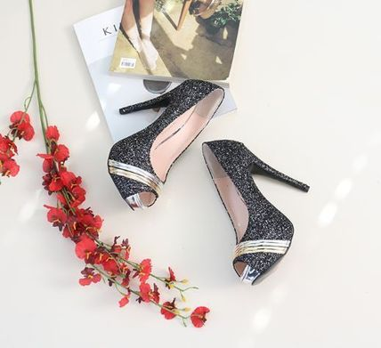Peep Toe Open Toe Handmade Party Style With Jewels 17