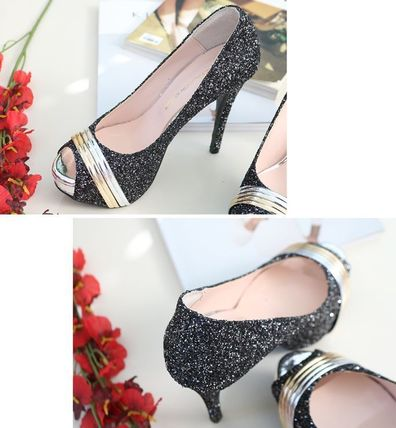 Peep Toe Open Toe Handmade Party Style With Jewels 18