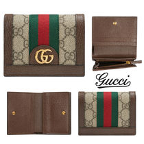 GUCCI Ophidia Stripes Cambus Folding Wallets