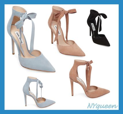 Suede Plain Pin Heels Elegant Style Stiletto Pumps & Mules