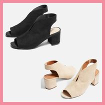 TOPSHOP Open Toe Casual Style Plain Chunky Heels Heeled Sandals