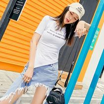 Crew Neck Short Casual Style Cotton Short Sleeves Cropped