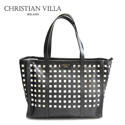 Gingham A4 Leather Office Style Totes
