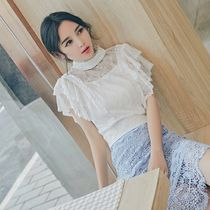 Short Short Sleeves Party Style High-Neck Lace Cropped