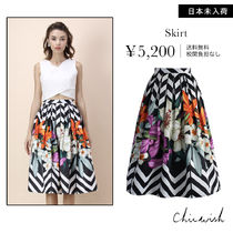 Chicwish Flared Skirts Flower Patterns Medium Elegant Style
