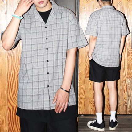 Shirts Glen Patterns Street Style Cotton Short Sleeves Shirts