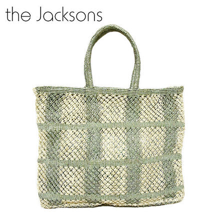 Gingham A4 Straw Bags