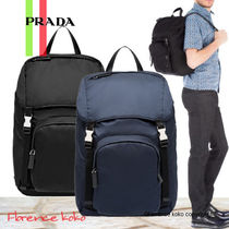 PRADA V135 Unisex Nylon Street Style A4 Plain Backpacks