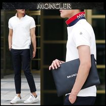 MONCLER Street Style Plain Cotton Short Sleeves Polos