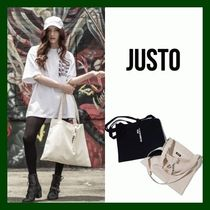 JUSTO Unisex Canvas Street Style A4 Plain Shoppers