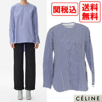 CELINE Gingham Casual Style Street Style Long Sleeves Cotton