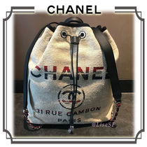 CHANEL DEAUVILLE Unisex Canvas 2WAY Plain Elegant Style Backpacks