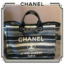 CHANEL DEAUVILLE Stripes Unisex Canvas A4 2WAY Chain Elegant Style Totes
