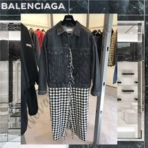 BALENCIAGA Other Check Patterns Casual Style Denim Blended Fabrics Long