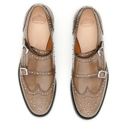 Studded Plain Leather Elegant Style Loafer Pumps & Mules