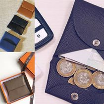 HERMES Bastia Unisex Plain Leather Coin Cases