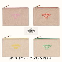 HERMES Yachting Unisex Canvas Plain Logo Pouches & Cosmetic Bags