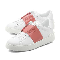VALENTINO Plain Leather Low-Top Sneakers