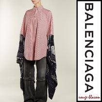 BALENCIAGA Stripes Casual Style Cotton Medium Super-long Sleeves