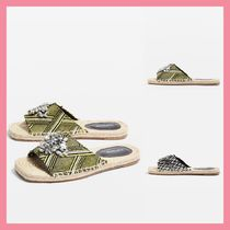 TOPSHOP Open Toe Casual Style With Jewels Tribal Espadrille Shoes