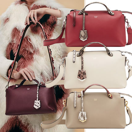 3WAY Plain Leather Python Elegant Style Shoulder Bags