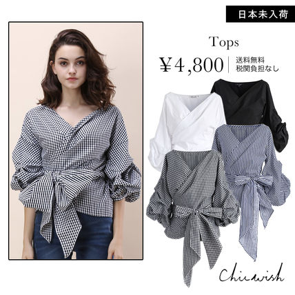 Gingham Casual Style Plain Puff Sleeves Shirts & Blouses