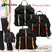 PRADA Casual Style Nylon Blended Fabrics Studded Bi-color Plain