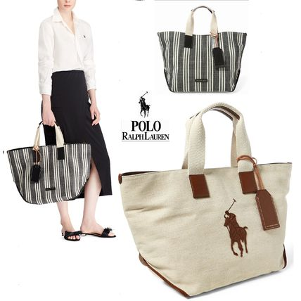 Stripes Casual Style Canvas A4 Plain Totes