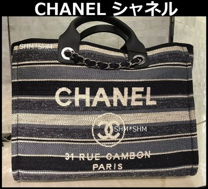 Stripes Casual Style Cambus Street Style A4 2WAY Chain Plain