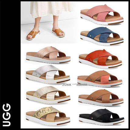 Plain Toe Casual Style Street Style Plain Leather Slippers