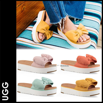 Open Toe Platform Casual Style Suede Plain Footbed Sandals
