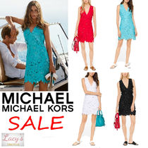 Michael Kors Short Flower Patterns Tight Sleeveless Street Style V-Neck