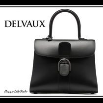 DELVAUX 2WAY Plain Leather Elegant Style Handbags
