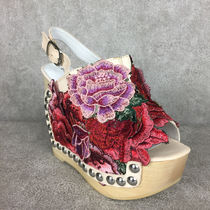 Jeffrey Campbell Flower Patterns Open Toe Casual Style Street Style Leather