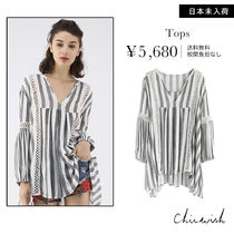 Chicwish Stripes Casual Style Puffed Sleeves Shirts & Blouses