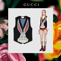 GUCCI Casual Style Suede Vest Cardigans