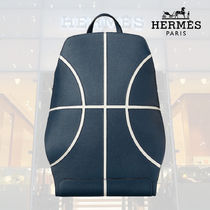 HERMES Stripes Street Style A4 Leather Backpacks