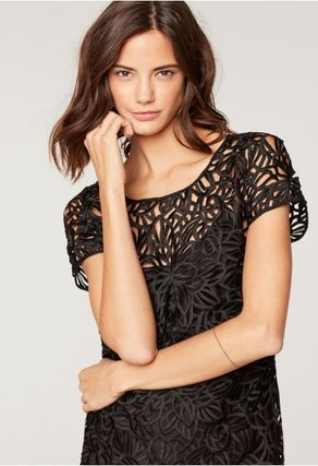 Short Short Sleeves Party Style Lace Dresses