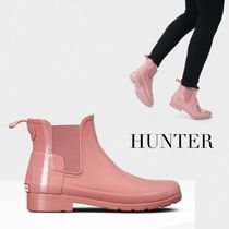 HUNTER Rubber Sole Casual Style Plain Flat Boots