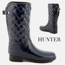HUNTER Round Toe Rubber Sole Casual Style Plain Flat Boots
