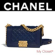 CHANEL BOY CHANEL Other Check Patterns Calfskin Street Style 2WAY Chain