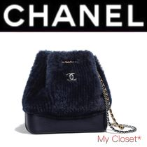 CHANEL ICON Fur Blended Fabrics 2WAY Plain Elegant Style Backpacks